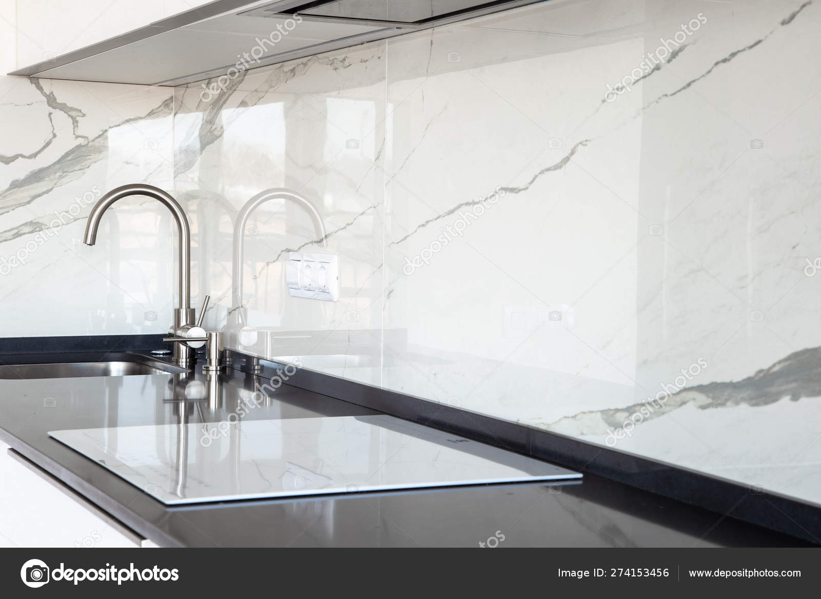 Close White Glossy Kitchen Black Quartz Countertop Marble Tile Backsplash Stock Photo C Rois010 274153456