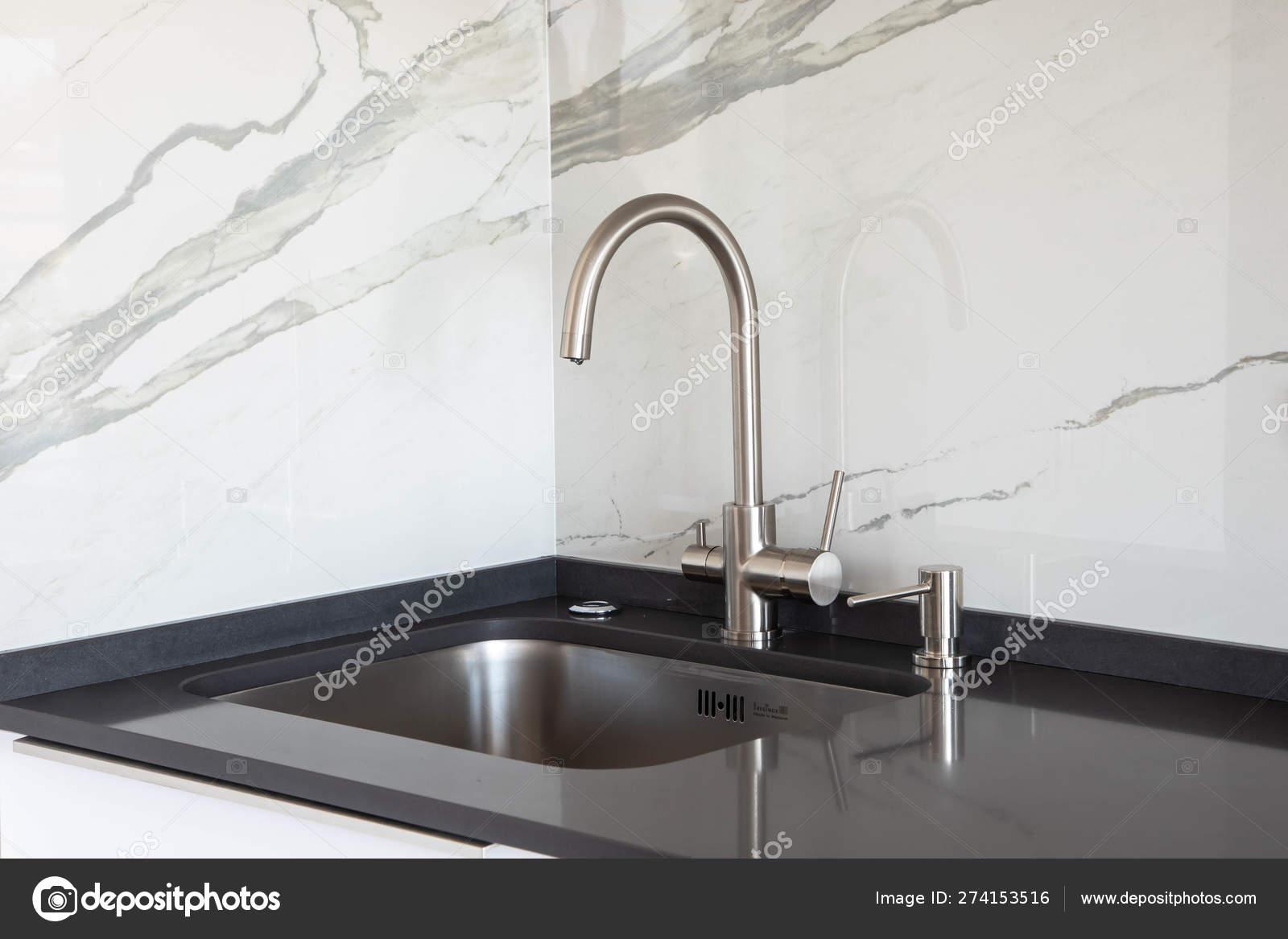 Close Undermounted Sink Mixer White Black Kitchen Design Marble Tile Stock Photo C Rois010 274153516