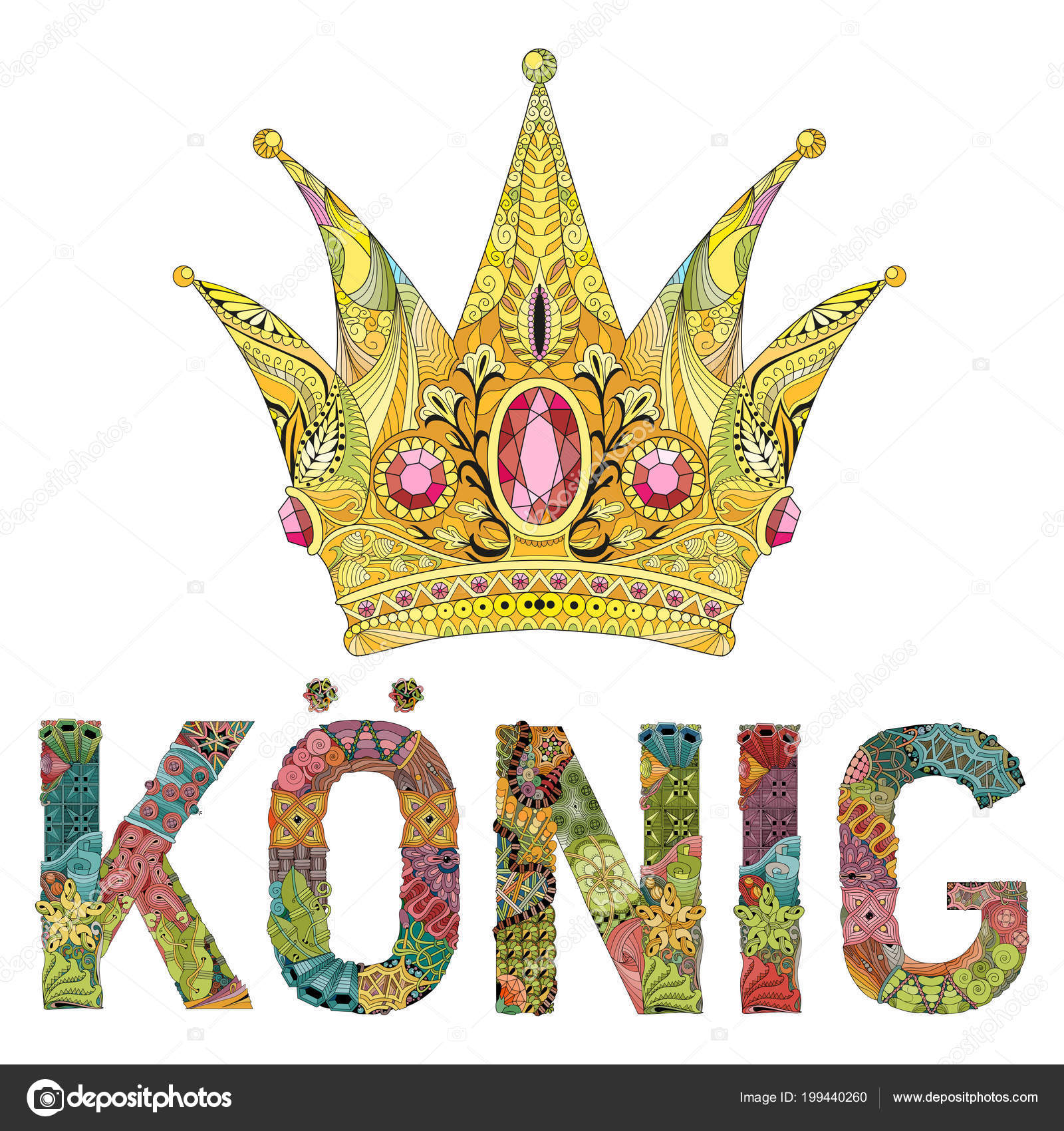 Diseño De Coronas Para Colorear Corona Con Rey Palabra Alemán