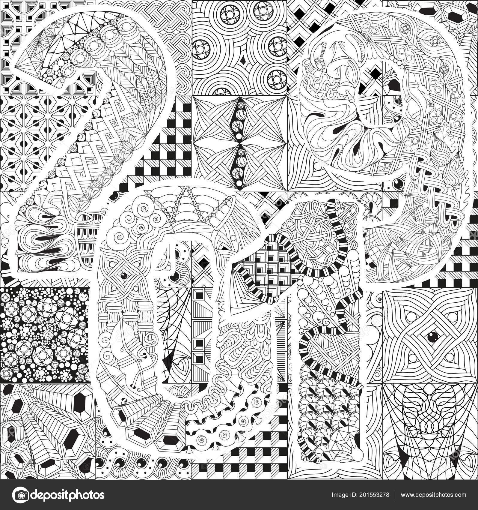 Vektör Yetişkin Renklendirme Kitap Dokular Yapımı Sanat Tasarım