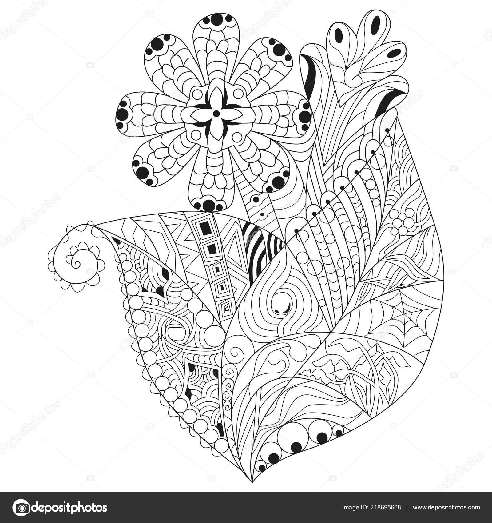Zentangle Flores Decoradas Con Lineas Limpias Para Colorear Libro