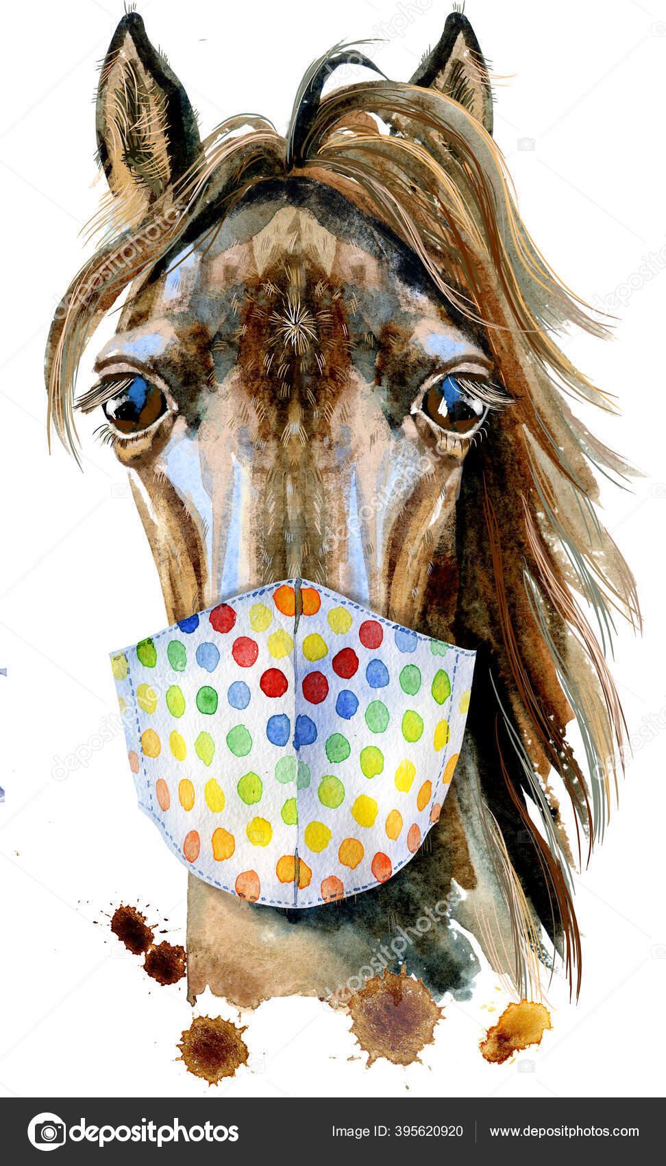 Horse Head Horoscope Character Protective Mask Isolated White Background Goat Stock Photo C Kseniaksenia2 395620920