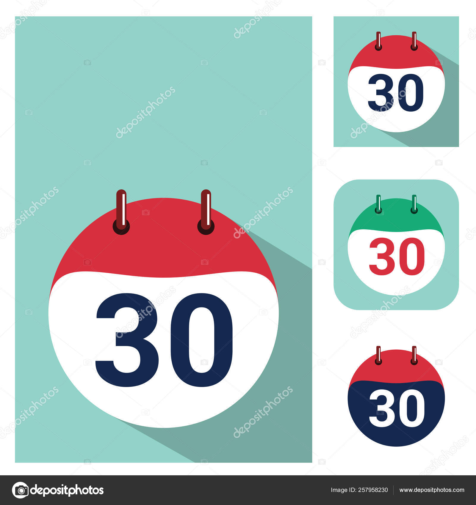 Daily Holiday Calendar.30 Vector Flat Daily Calendar Icon Date And Time Day Month