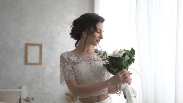 Bride In Wedding Dress With Bridal Bouquet