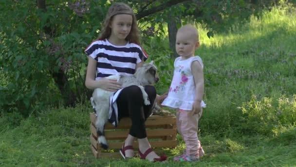 Familien besuchen einen Gemeinschaftsbauernhof, Schwestern streicheln süße Ziege