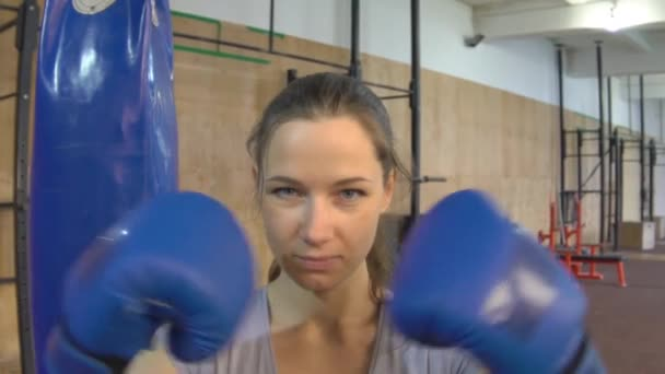 Sexy Girl Punching Gloves Together, Closeup