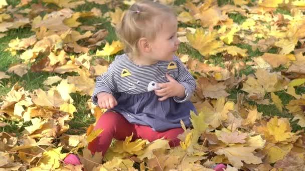 Lassú Motion Cute Baby Girl játék Falling levelek ősszel