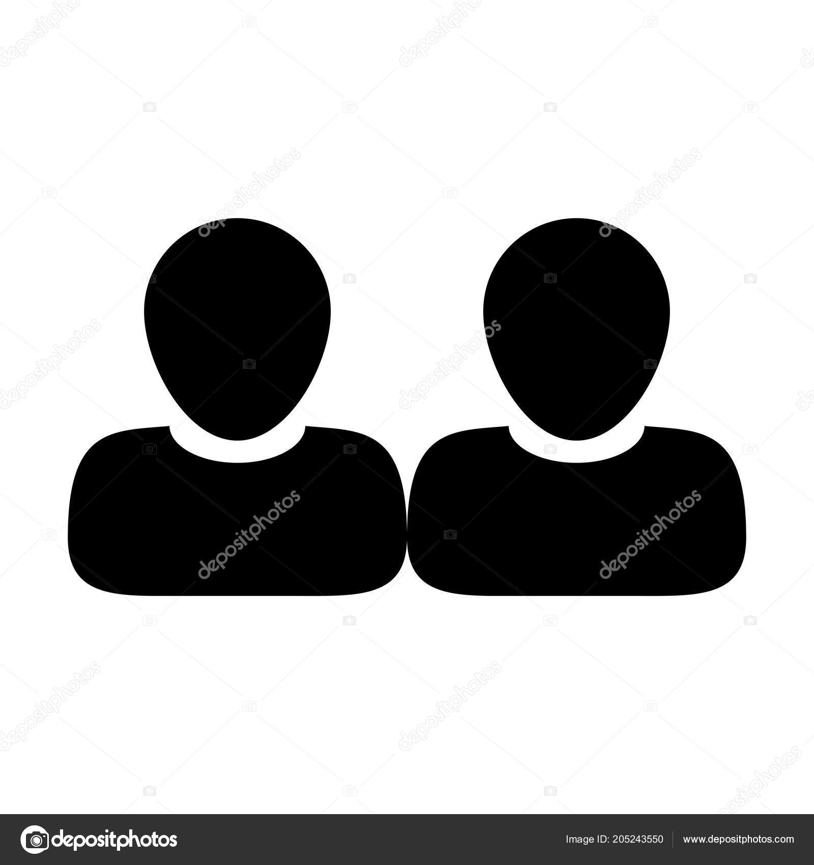 Employee Icon Vector Male Group Persons Symbol Avatar Business Flat