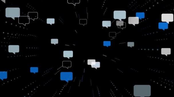 Mnoho řeči bubliny létat do kamery. Na čistě černou. Sociální sítě konceptu, komunikace v Internetu, chatování. 3D vykreslování. S alfa kanálem.