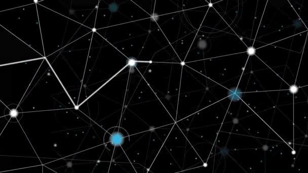 Prostor mapy nebo molekulární strukturu. Kruhy a cesty na čistě černou. Složitou strukturu čar a teček. Světlé částice s bílým trasování pohybující se mezi body obnovení.