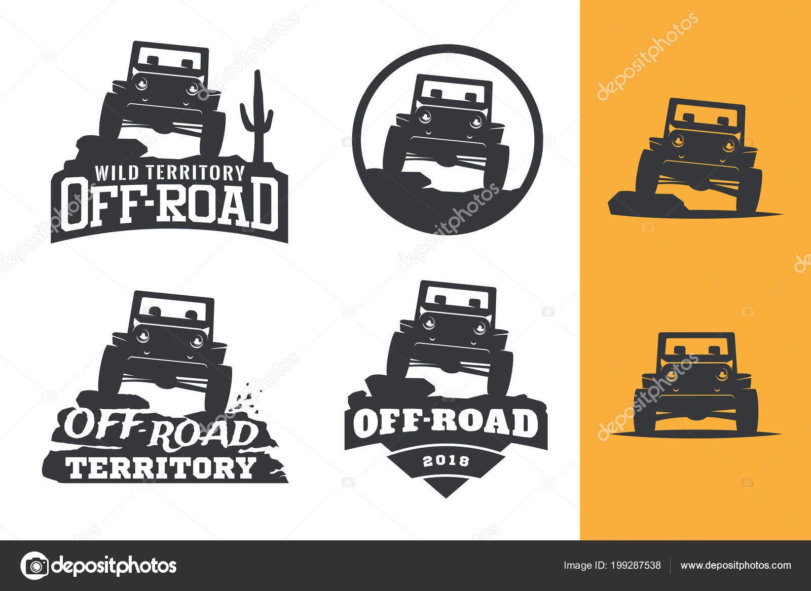 Set Road Suv Car Monochrome Logo Emblems Badges Isolated White