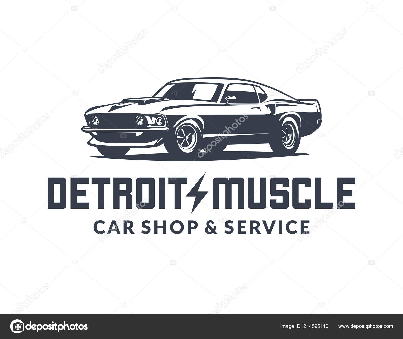 American Muscle Car Vector Logo Isolated On White Background