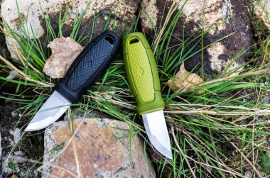 Two sharp knives. Knives with a fixed blade.