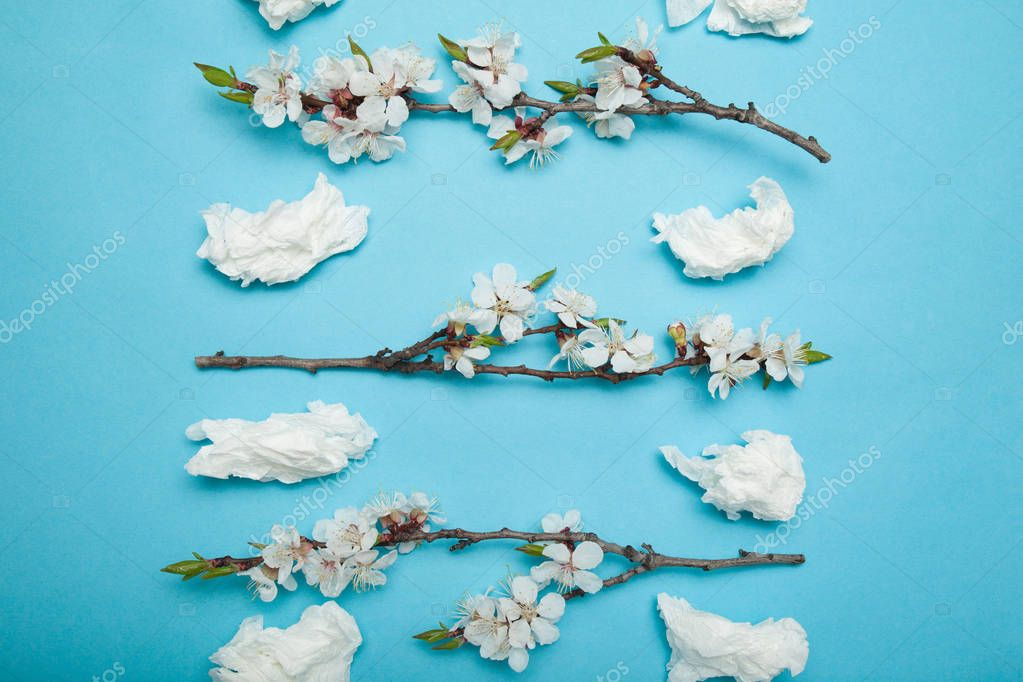 Allergy to flowering plants in spring, concept. Used nasal wipes