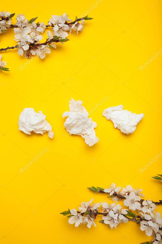 Flowering branch with white flowers and napkins from the cold, a