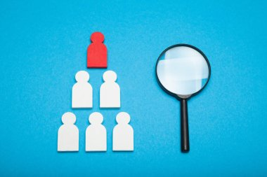 Talent resource, human manager. Find employee in glass, concept.