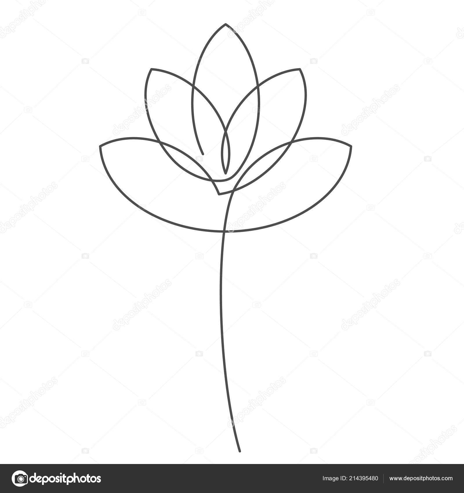 Fleur Lotus Ligne Continue Vector Illustration Barrée