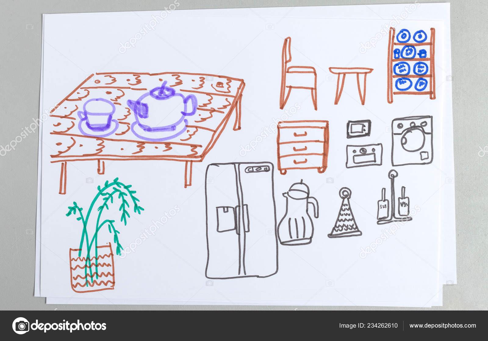 Niños Dibujos Conjunto Muebles Cocina Diferentes Vajilla ...