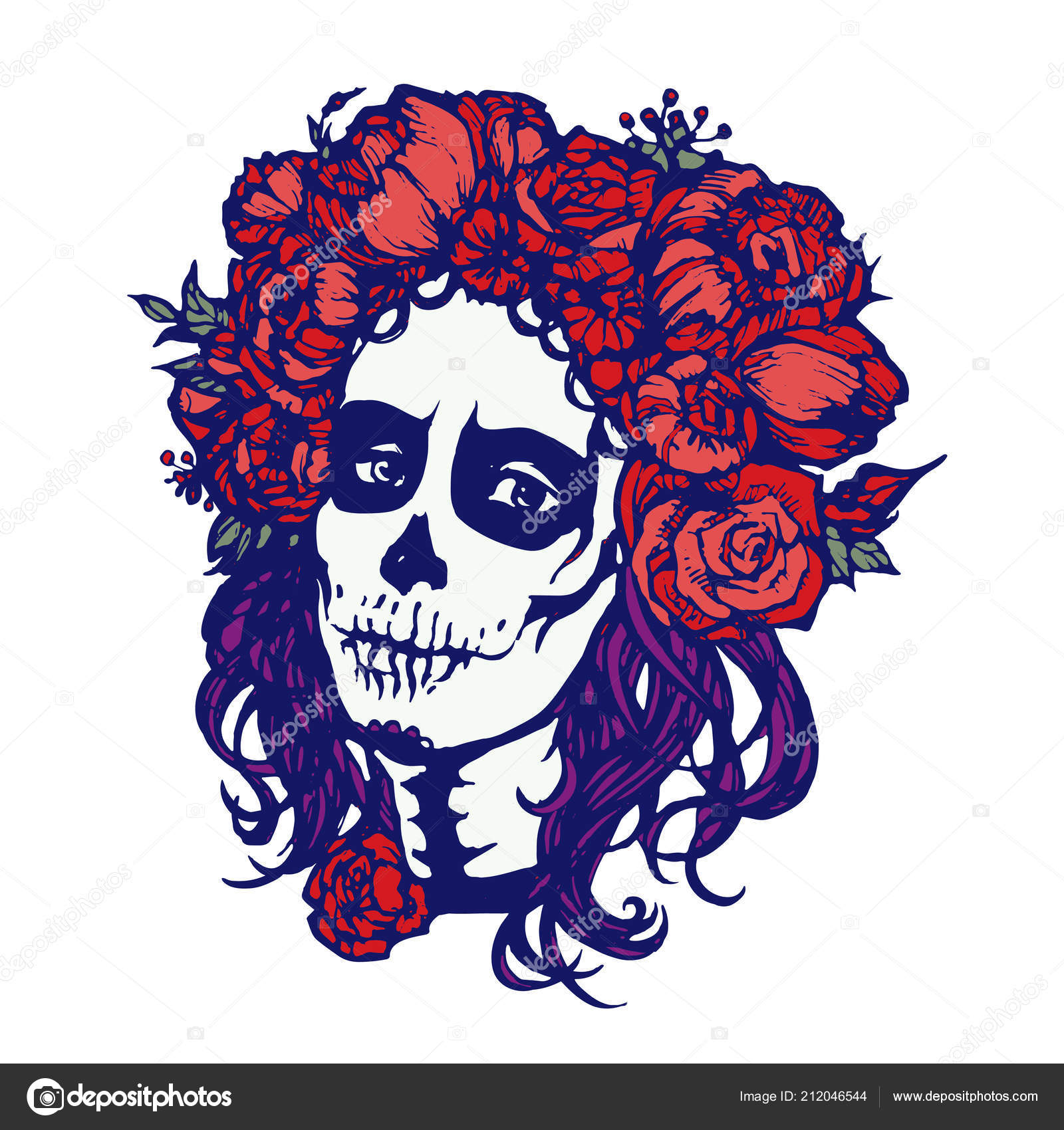 Santa Muerte Woman Make Sugar Skull Girl Face Flowers Wreath Stock