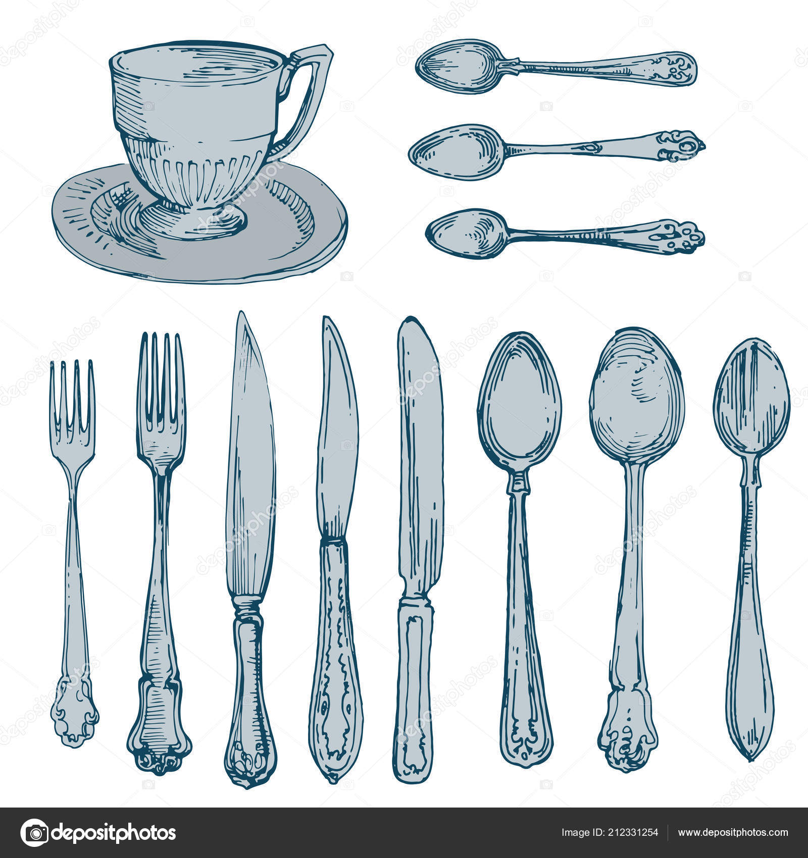 Spoons Forks Cup Knives Kitchen Stuff Silverware Vintage Hand Drawn ...