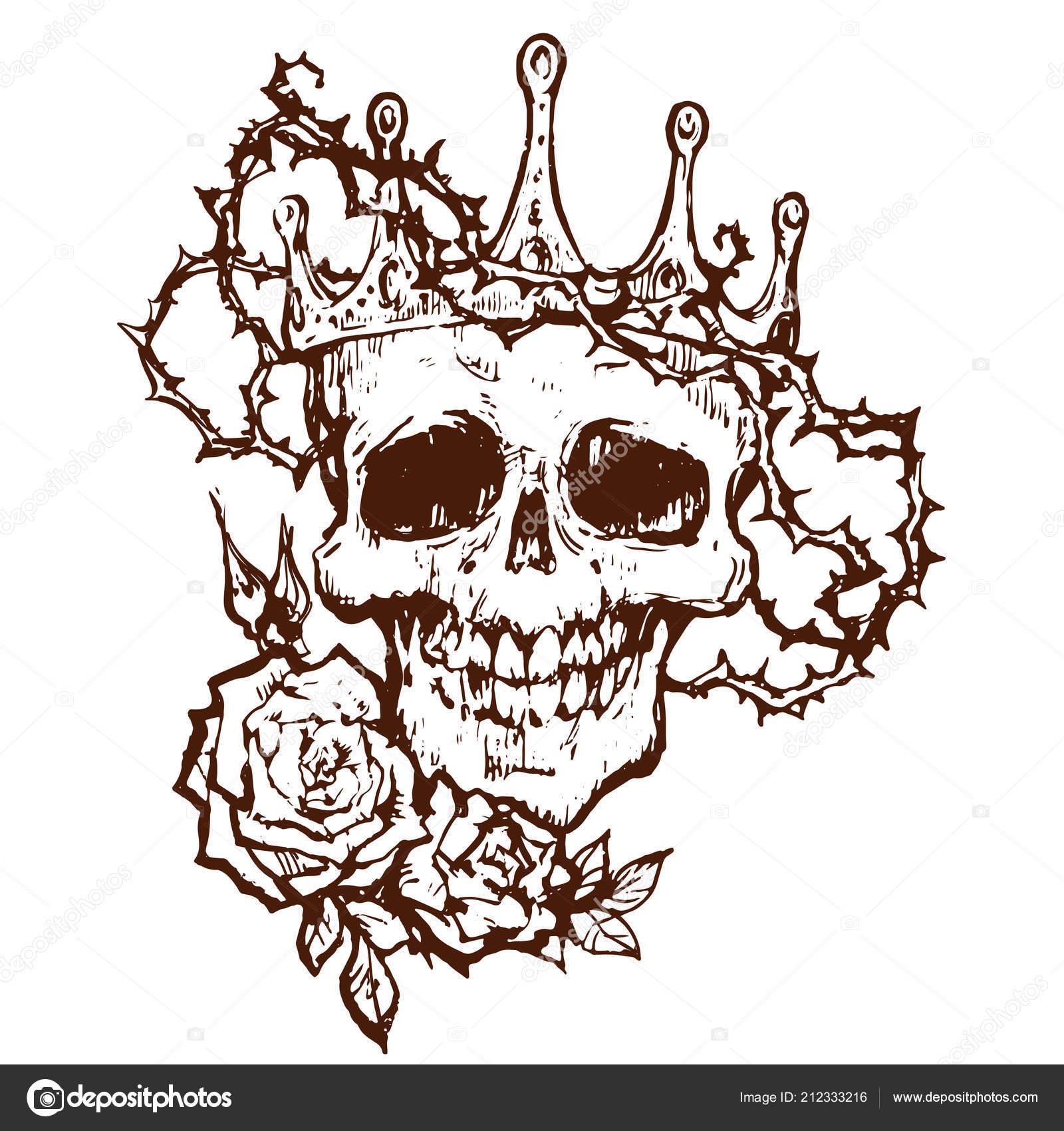 Cráneo Diadema Corona Espinas Muerto Goth Tatuaje Vector Dibujo