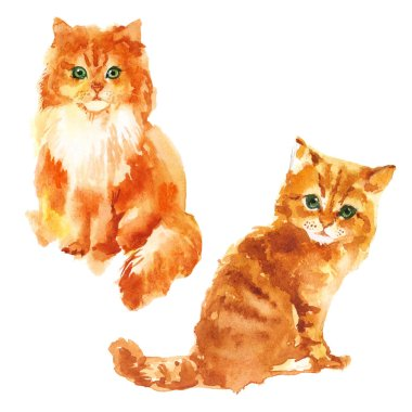 Cute little kittens Watercolor illustration isolated on white background
