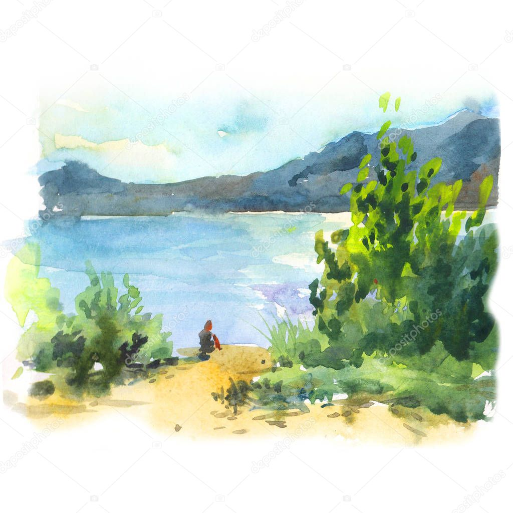 Lake coast watercolor summer landscape with green trees, blue water, sand and mountains