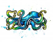 Photo Blue Octopus with tentacles. Watercolor illustration on white background. Tattoo sketch