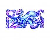 blauer Tintenfisch mit Tentakeln. Handgezeichnete Illustration