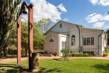 Church in Filadelfia, in Deutsch mennonite colony Fernheim, Boqueron Department, Gran Chaco, Paraguay. Built in 1950 year.