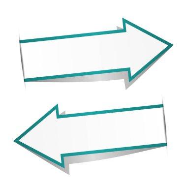 Blue arrow banner on white background icon