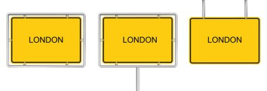 Yellow road sign with LONDON isolated on white background icon