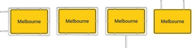 Yellow road sign with Melbourne isolated on white background icon