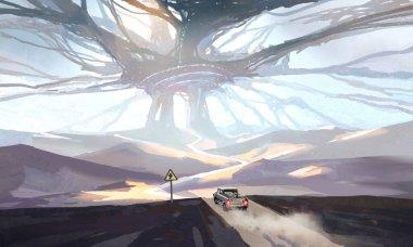 Bizarre science fiction scenes, digital paintings.