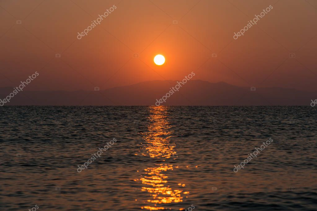 Beautiful colorful sunrise seascape shot in Afytos, Chalkidiki, Greece
