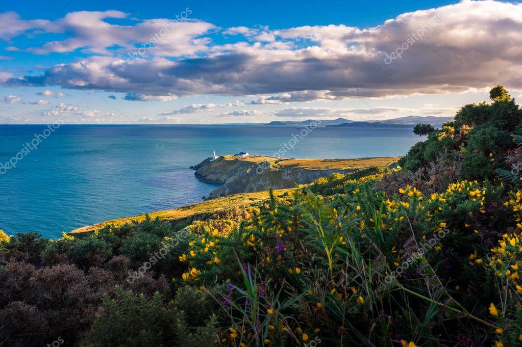 Beautiful scenery of Baily Lighthouse on Howth Head, county Dublin, Ireland