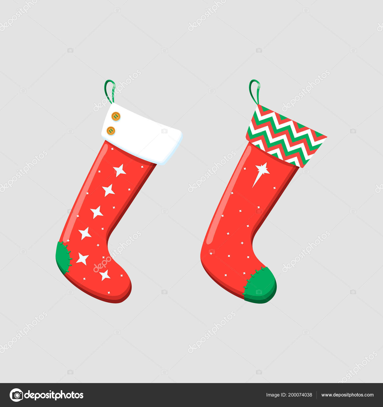 christmas stockings red green colors hanging holiday decorations for gifts stock vector - Why Are Christmas Colors Red And Green