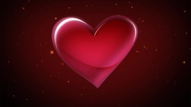 Třírozměrné a pohyblivé kreslený srdce. Na pozadí obešel světlé částice.