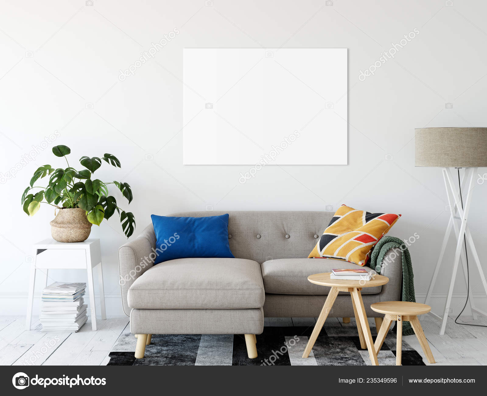 Frame Mockup Living Room Interior Wall Mockup Wall Art Rendering Stock Photo C Yuri U 235349596