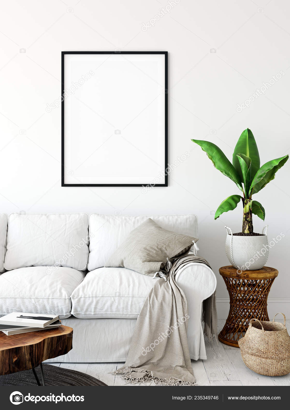 Frame Mockup Living Room Interior Wall Mockup Wall Art Rendering Stock Photo C Yuri U 235349746
