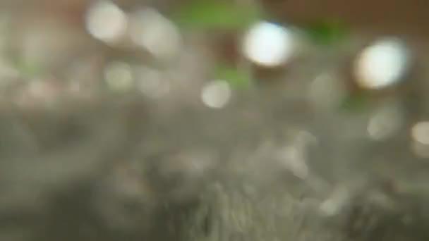 Grüne Kunststoff-Kugel gerollt vom Wasserstrom in Badewanne, Slow-motion