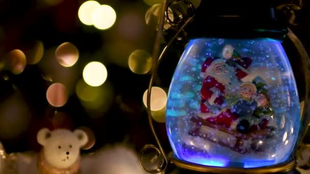 Karácsonyi jelenet, Santa gyermek egy szán, hó kupola