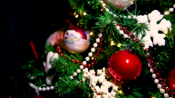 Christmas tree decoration close up, Xmas holyday concept, colorful traditional ornaments