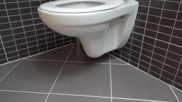 Toaletní miska, záchod v moderní koupelně s černými a šedými dlaždicemi, 4k UHD, rychlý sklon k naklopení, otevřený poklop, bílý na černém pozadí