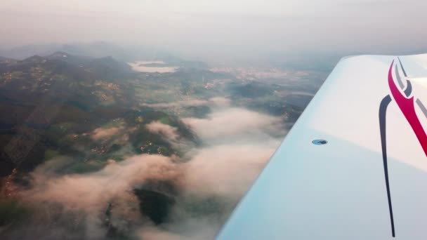 Pilots view from small airplane, cross country flying