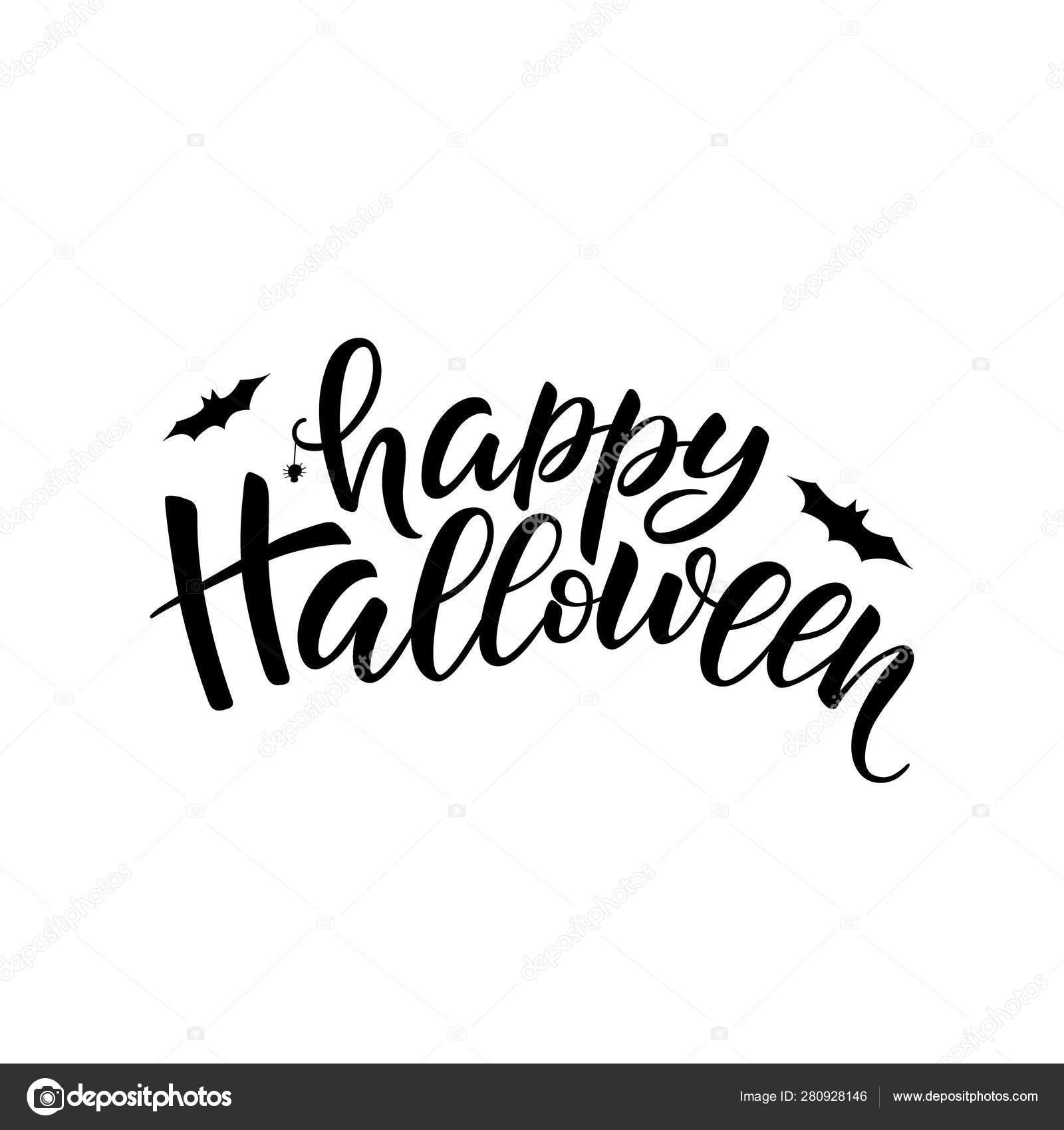 Happy Halloween Lettering Vector Brush Calligraphy Handwritten Halloween Typography Print Stock Vector C Linett 280928146