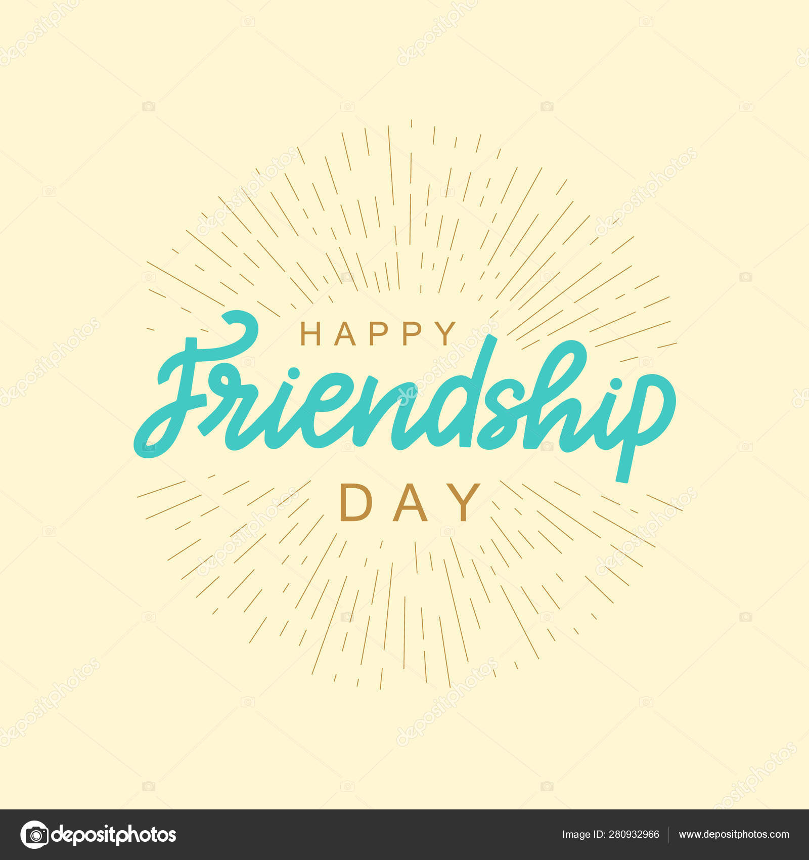 happy friendship day lettering quote vector brush calligraphy