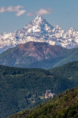 view of Monviso and Sacra di San Michele, susa valley, piedmont,