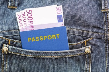 Passport with euros in jeans pocket