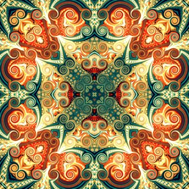 Seamless raster pattern in oriental style Flower psychedelic mosaic Pattern for wallpaper, backgrounds, decor for tapestries, carpet..
